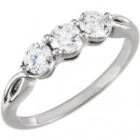 Platinum 3/4 Ctw Diamond 3-stone Ring