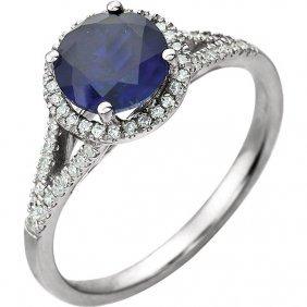 14kt White Created Blue Sapphire & 1/5 Ctw Diamond Ring