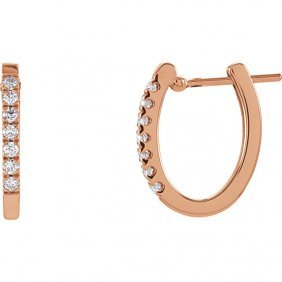 14kt Rose 1/5 Ctw Diamond Hoop Earrings