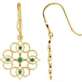 14kt Yellow Emerald Earrings