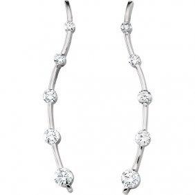 18kt Yellow 1 Ctw Diamond Journey Earrings