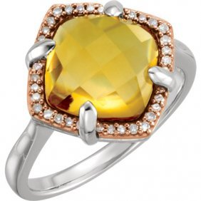 Sterling Silver Rose Gold Plated Citrine & 1/8 Ctw