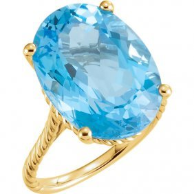 14kt Yellow 18x13mm Swiss Blue Topaz Rope Ring