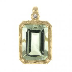 14kt Yellow Pendant Green Amethyst