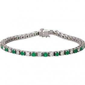 Platinum Emerald & 2 3/8 Ctw Diamond Bracelet