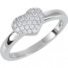 Sterling Silver Cubic Zirconia Pave Heart Ring Size 6