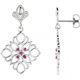 Sterling Silver & 14kt White Ruby Decorative Earrings