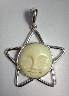 Bone Face Open Work Star Pendant