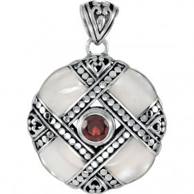 Mother Of Pearl & Mozambique Garnet Pendant