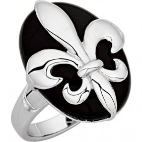 Onyx Fleur-de-lis Ring