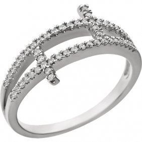 Sterling Silver Cubic Zirconia Sideways Cross Ring Size