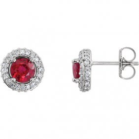 Platinum Ruby & 3/8 Ctw Diamond Entourage Earrings