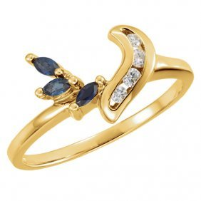 14kt Yellow Sapphire & .07 Ctw Diamond Ring