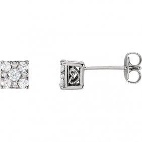14kt White 1/3 Ctw Diamond Stud Earrings