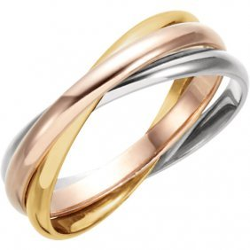 14kt Yellow, White & Rose 3 Band Rolling Ring Size 5