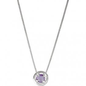 Sterling Silver Amethyst 16-18 Necklace With Box