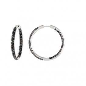Black Spinel Inside/outside Hoop Earrings