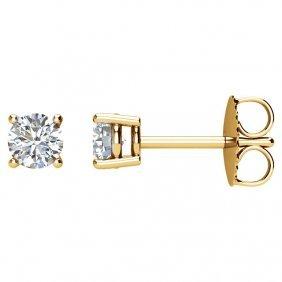 14kt Yellow 1/2 Ctw Diamond Earrings