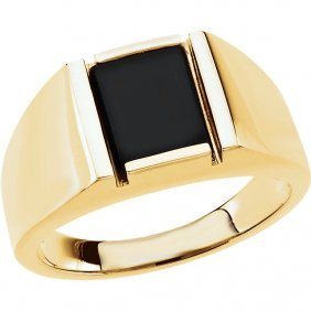 14kt Yellow Onyx Men's Ring