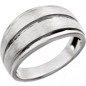 14kt White Men's Grooved Ring