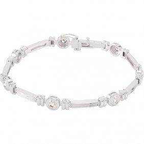 14kt White 1 Ctw Diamond Line Bracelet