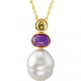 14kt Yellow South Sea Cultured Pearl, Peridot &