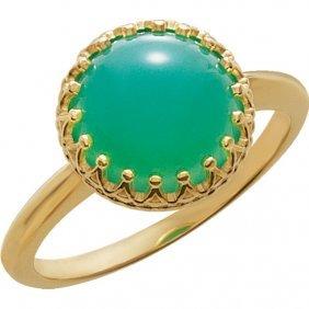 14kt Rose Opal Crown Design Cabochon Ring