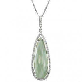 Sterling Silver 1/3 Ctw Genuine Green Quartz & Diamond