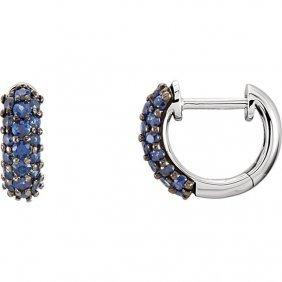 14kt White Blue Sapphire Earrings