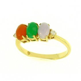 Natural Multi-color Jade Ring