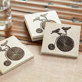 Lovebirds On Bicycle Coasters