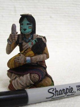 Native American Hopi Carved Hano Mana Katsina Doll With