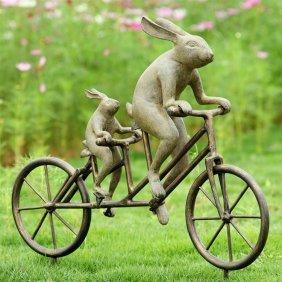 Tandem Bicycle Bunnies Garden Sculpture