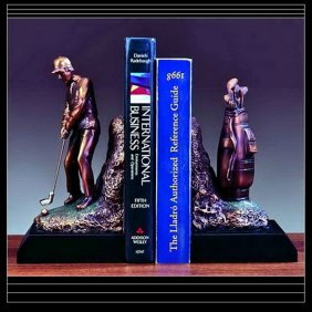 Bronze Golfer Bookends