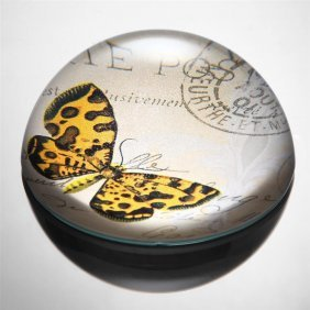 Art Glass Orange And Brown Butterfly Paperweight