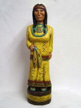 Native American Made Cigar Store Maiden Sculpture