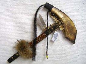 Native American Creek Made Jawbone Warclub