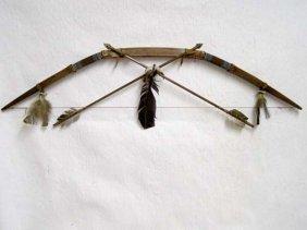 Native American Navajo Made Rawhide Bow And Arrow