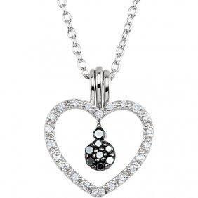 Black & White Diamond Heart Necklace