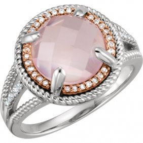 Sterling Silver Rose Gold Plated Rose Quartz & 1/8 Ctw