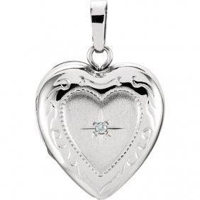 Heart Locket With Diamond Accent
