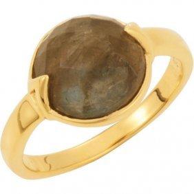 18kt Yellow Vermeil Labradorite Stackable Ring Size 8
