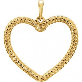 14kt Yellow Rope Heart Pendant