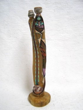 Native American Laguna Carved Double Pot Carrier