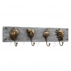 Seashells On Wood Wall Hook