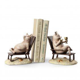 Seaside Pigs Bookends
