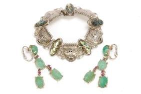 Mexican Silver & Abalone Bracelet & Jade Earrings