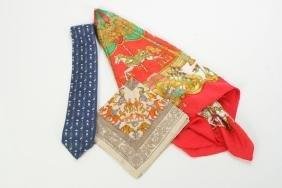 Hermes Paris Silk Tie, Scarf And Pocket Square