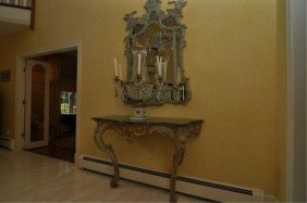 Pair Of 20th C. Parcel Gilt Rococo Console