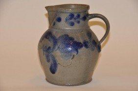 Stoneware Cobalt Blue Decorated Pitcher